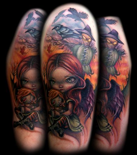 Girl, Doll, and Scarecrow tattoo Tattoo Design Thumbnail