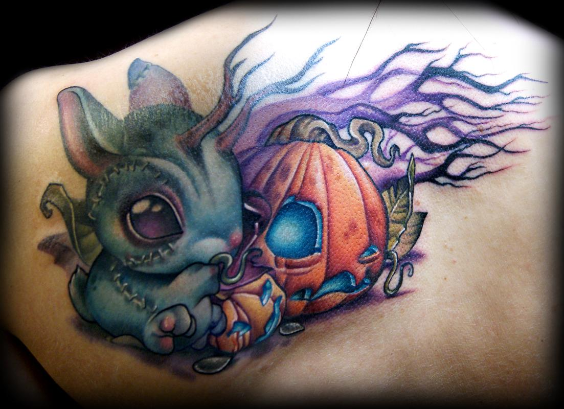 zombie bunny vs pumpkin tattoo by kelly doty tattoonow. Black Bedroom Furniture Sets. Home Design Ideas