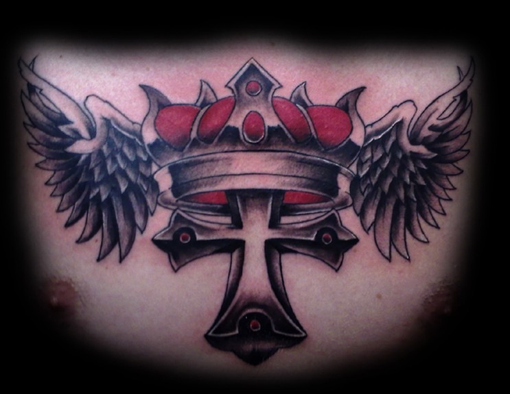 Tattoos North Carolina Cross Crown and wings across the chest