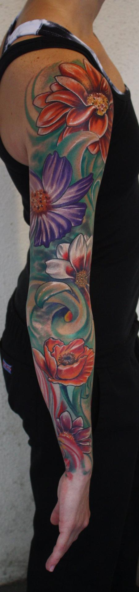 color flower tattoo sleeve Tattoo Design Thumbnail