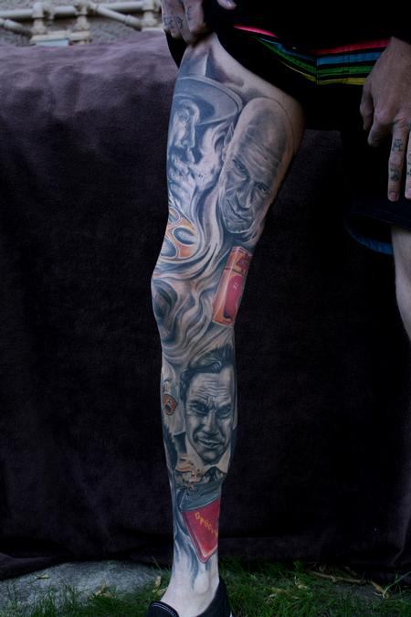 Ty McEwen - portrait leg sleeve  tattoo