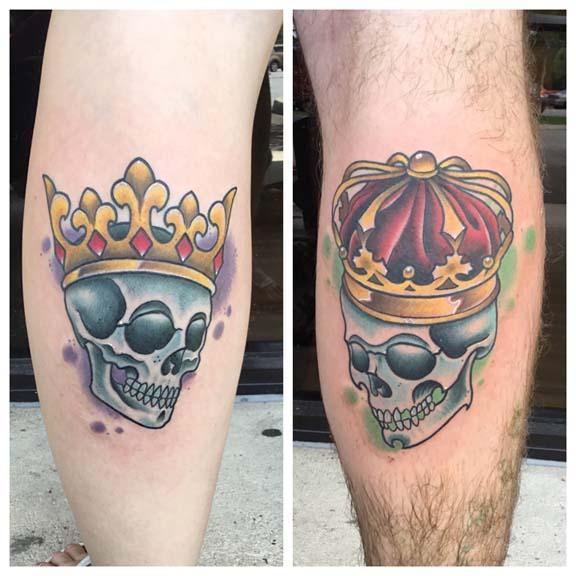 King and queen skulls by skyler del drago tattoonow for King and queen skull tattoos