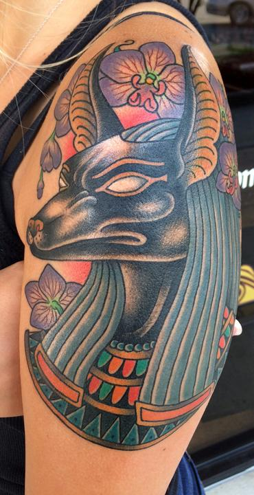 Tattoos - Anubis with Orchids - 119264