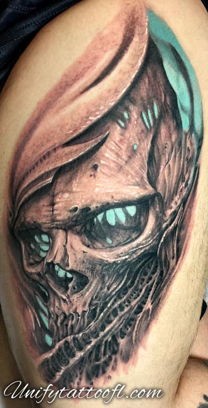 Tattoos - Bio-Organic Skull - 123209