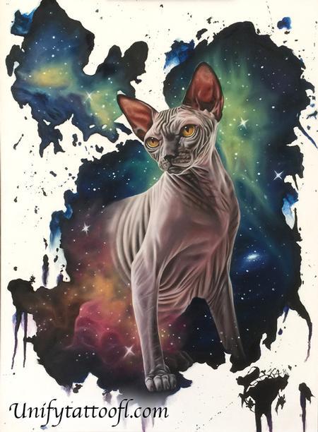 El Gato Del Espacio Tattoo Design Thumbnail