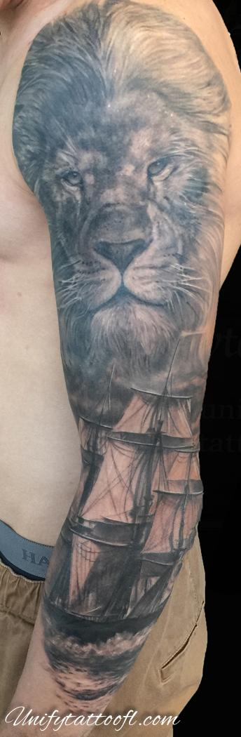 Tattoos - Lion and Ship Tattoo - 120366
