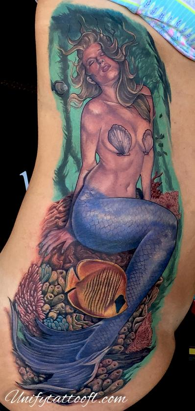 Tattoos - Mermaid on ribs - 120369