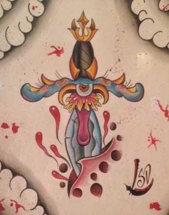 Tattoos - Creepy Monster Dagger - 123260