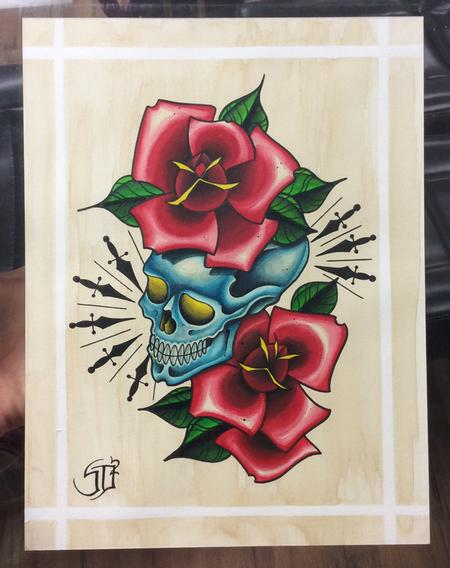 Skyler Del Drago - Skull with roses