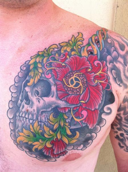 Skull on chest with flower