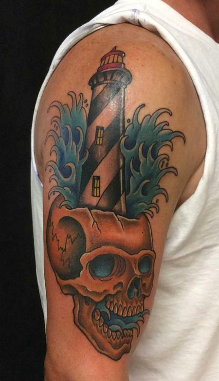 Tattoos - St. Augustine Lighthouse/Skull Combo - 123251