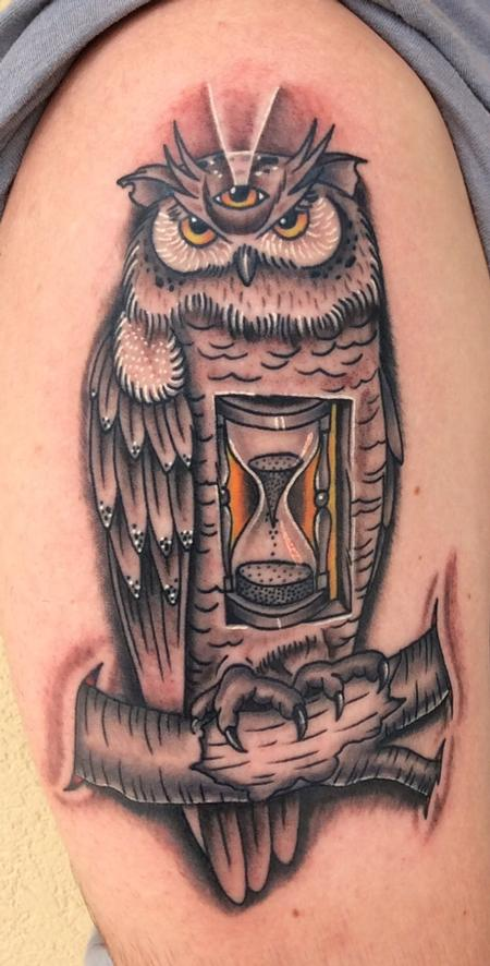 Tattoos - Owl Hourglass - 123204