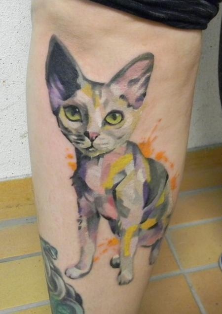Devon rex cat tattoo Design Thumbnail