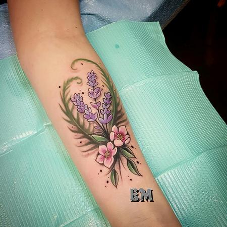 lavender and blossoms Tattoo Thumbnail