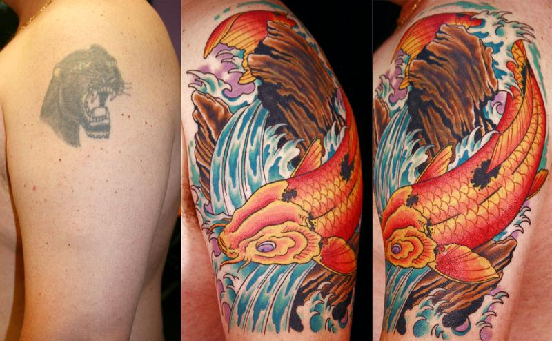Off the map tattoo tattoos coverup koi cover up for Koi fish cover up