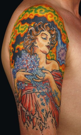 Canman - Alfons Mucha  inspired half sleeve