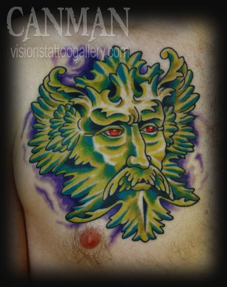 Tattoos - green man - 67766