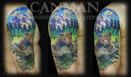 Bear and mountain scene Tattoo Design Thumbnail
