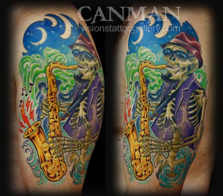 Canman - jazz saxophone skeleton