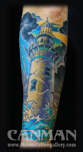 Canman - lighthouse tattoo
