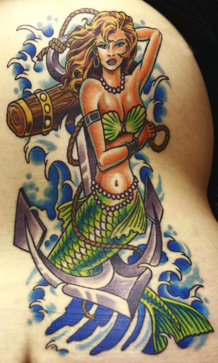 Tattoos - pin-up mermaid - 58993