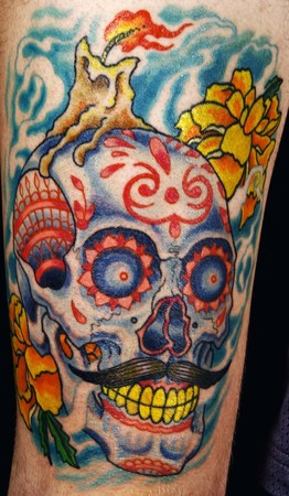 Canman - sugar skull thigh piece