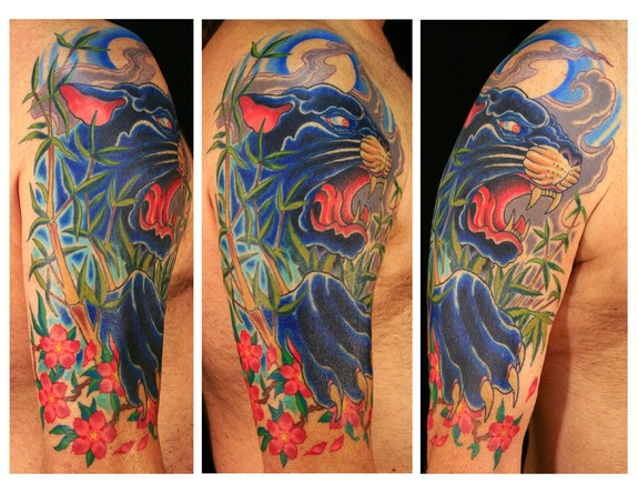 panther half sleeve by canman tattoonow