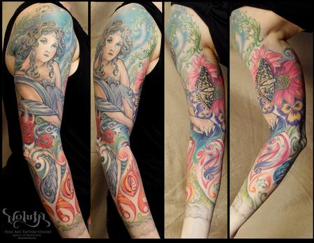 Tattoos - Art Nouveau Garden Beauty Tattoo  - 64488
