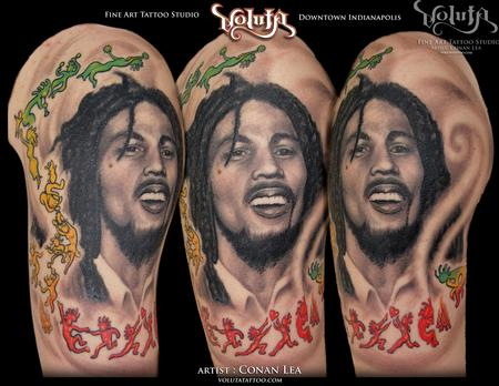 Tattoos - Bob Marley Reggae Tribute Tattoo  - 75881