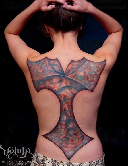 Tattoos - Full Back Fractal Tattoo - 76072