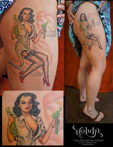 Tattoos - Custom Biology Ph.D Pin Up Tattoo - 76071