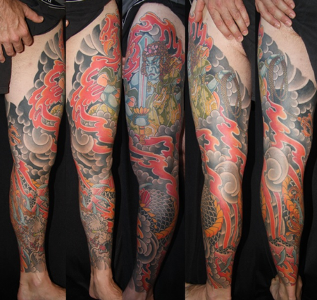 Traditional Leg Sleeve Tattoo