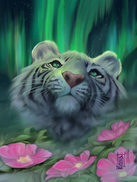 Tattoos - White Tiger and Water Lilies - 102354