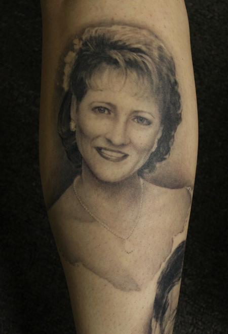 black and gray portrait tattoo Tattoo Design Thumbnail