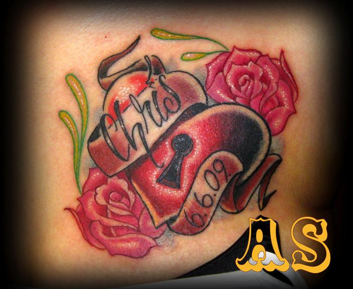 Heart And Roses Tattoo Stock Photos Royalty Free Heart