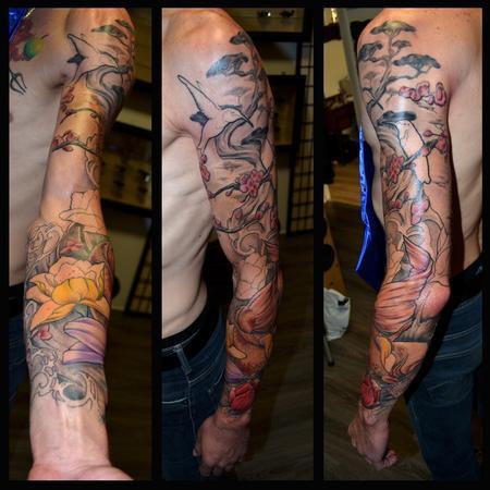 Tattoos - Japanese / Art Nouveau Full sleeve, unfinished  - 93869