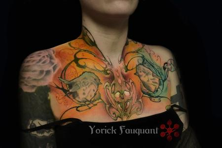 Bright chest and neck tattoo Tattoo Design