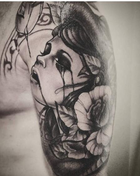Yorick Fauquant - Black and Grey woman, Eve, Crying, Apple, Roses, Sleeve, Snake, Art Nouveau, Yorick Tattoo, Neotrad