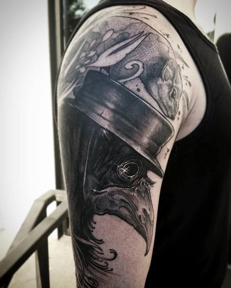 Tattoos - Black bird, top hat, rat, plague disease, black and grey blackwork arm - 130697