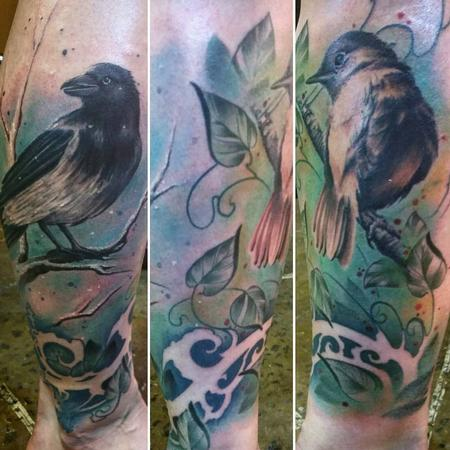 Yorick Fauquant - Color Art Nouveau birds, vines, branches, trees on leg, rework by Yorick Tattoo