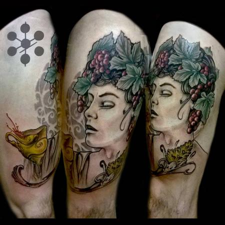 Yorick Fauquant - Androgynous Greek Wine grapes Art Nouveau leg tattoo by Yorick Tattoo