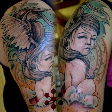 Tattoos - sleeve lady flowers  - 116769