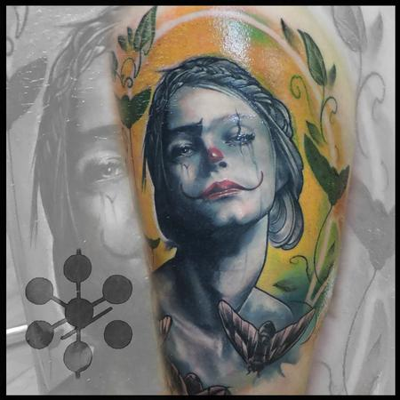 Tattoos - Realistic Clown Woman with scarab beetles - 115977