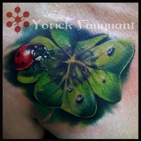 Lady Bug on Four Leaf Clover Tattoo Design Thumbnail