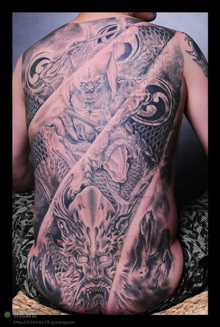 Black and grey back piece Tattoo Design Thumbnail