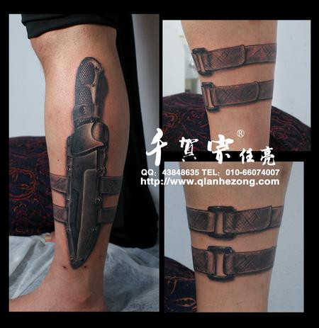 Tactical knife Tattoo Design
