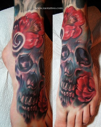 ... Tattoo Gathering : Tattoos : Skull : Skull and Flowers Foot Tattoo