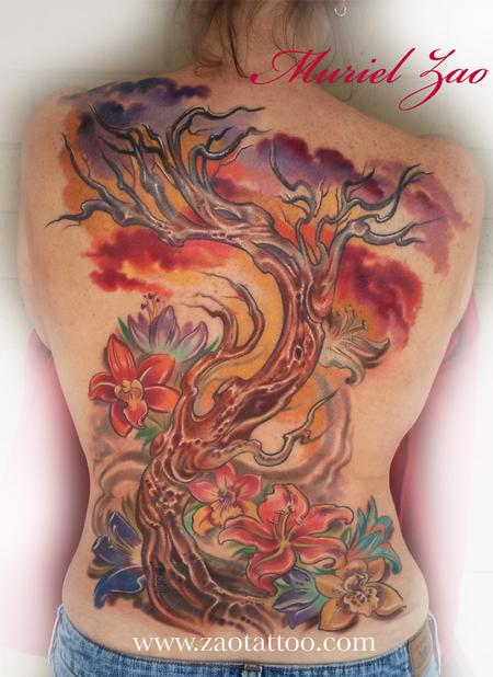 Tree and Sunset Tattoo Tattoo Design Thumbnail