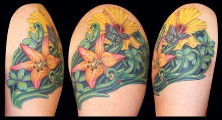 Royal Sunset Lilly, Hibiscus, Plumeria and a Butterfly Tattoo Design Thumbnail