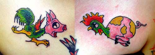Pig and Rooster Tattoo Meaning http://www.tattoonow.com/Tattoos/Nature_Animal_Wildlife_tattoos/tattoos_9472.html